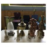 Large Lot Of  Antique Lamps