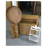 Medicine Cabinet, White Shelf , Wicker Sifter