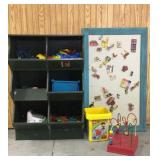 Green Wooden Toy Cubby with Magnet Board