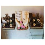 Lot of 3 - Book Holders & Figurine of Hands/Bible