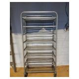 Metal Rack on Wheels w/ 8 Shelves