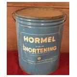 Hormel Shortening Lard Can with Handles