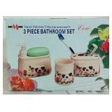 Hand Painted Ceramicware 3 Piece Bathroom Set