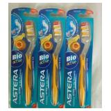 3 Astera Bio Active Medium Tooth Brushes - NEW