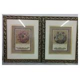"2 Framed Floral Prints/Pictures 11"" x 14"" Each"