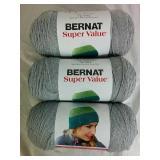 3 Rolls Bernat Super Value Yarn - NEW