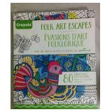 Crayola Folk Art Escapes Adult Coloring Book -