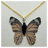 Butterfly Shaped Natural Leaf  Necklace - NEW