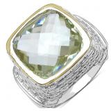 Rhodium Plated Lemon Quartz  Ring (~Size 8) - NEW