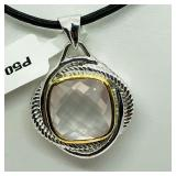 Rhodium Plated Rose Quartz Necklace - NEW