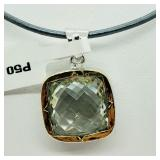 Rhodium Plated Green Amethyst  Necklace - NEW