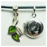 Sterling Silver Leaf And Locket Pendant & Necklace