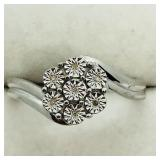 Sterling Silver 7 Diamond Ring (~Size 7) - NEW