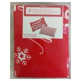 2 Holiday Time Flannel Pillow Cases - NEW