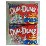 2 Packs 100 Each Dum Dums Pops - NEW