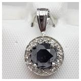14K White Gold Black Diamond Pendant - NEW