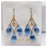14K Yellow Gold Blue Topaz White Sapphire Earrings