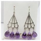 14K White Gold Amethyst( 10cts) Earrings - NEW
