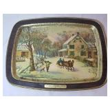 Metal Tray with Winter Scene