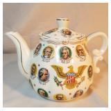 1966 White TeaPot Featuring 34 US Presidents