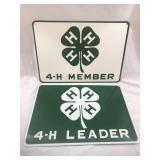 (2) Vintage 4-H Tin Signs Leader & Member