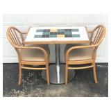 Ceramic Tile-Top Table w/2 Chairs ALL SOLID!