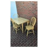 Double Drop-Leaf Table & 3 Chairs