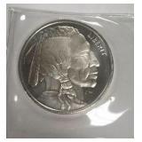 One Troy Ounce Silver Indian Buffalo Head Coin