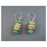 Earrings: Turquoise 14K Gold over Sterling Silver