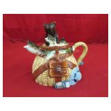 Tea Pot Fishing Creel Style w/ Bear & Fish