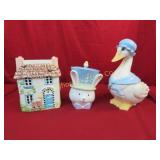 Cookie Jars 3 pc lot: Mother Goose, Cottage