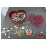 Heart Box w/ Jewelry: Brooch Pins, Earrings, Rings