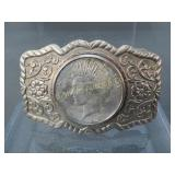 Vintage Belt Buckle 1922 Peace Silver Dollar