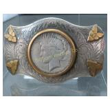 Vintage Belt Buckle 1923 Peace Silver Dollar