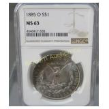 1885-O Morgan Silver Dollar NGCMS64 Toned