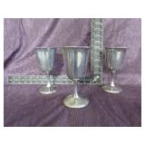 3 Silverplated Goblets by Commonwealth