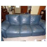 Blue leather couch recliner