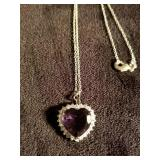 Beautiful heart shaped purple necklace surrounded