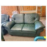 GREEN VINYL 2 CUSHION LOVE SEAT