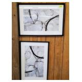 PAIR OF ABSTRACT ART PRINTS FRAMED