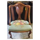 NEEDLE POINT SEAT VICTORIAN STYLE ARM CHAIR
