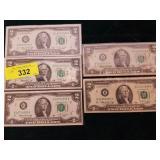 5 X $2.00 BILLS 1976