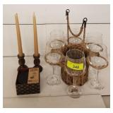 TWINK WINE SET AND CANDLE HOLDERS