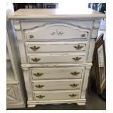 5 DRAWER PAINTED AND DISTRESSED CHEST