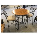 HIGH TOP IRON/PINE TABLE/3 CHAIRS