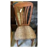CHAIR W/ LEOPARD PRINT UPHOLSTERED SEAT