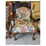 UPHOLSTERED QUEEN ANNE ARMCHAIR