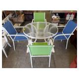 GLASS TOP PATIO TABLE/4 CHAIRS