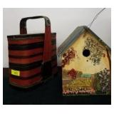 WOODEN WINE BASKET AND BIRD HOUSE