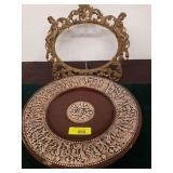 CAST BRASS PICTURE FRAME AND PLATTER